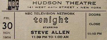 Steve allen tonight show ticket