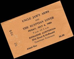 Billy Jam ticket stub July 1984