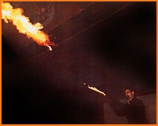 Graeme Revell with SRL flamethrower at Russian Center SF CA - photo by Rob Wortman