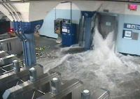 Flooding at the Hoboken PATH station (photo credit: AP)