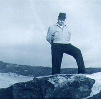 Found photo - German Man with Rock